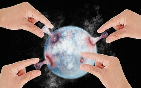 Hands pulling the world on dark background. Effect from human. Save world concept. 3D illustration. Zdjęcie Seryjne
