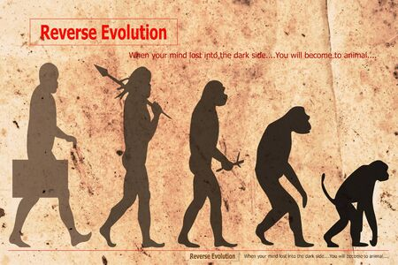 Silhouette of evolution of human on old paper.