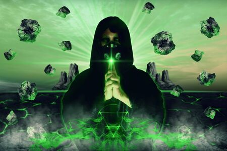 View of wizard with mask spelling witchcraft. Earth element. 3D illustration.