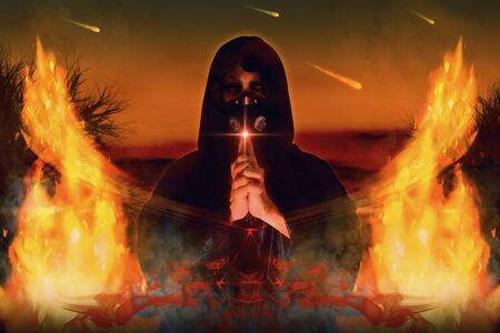 View of wizard with mask spelling witchcraft. Fire element. 3D illustration.
