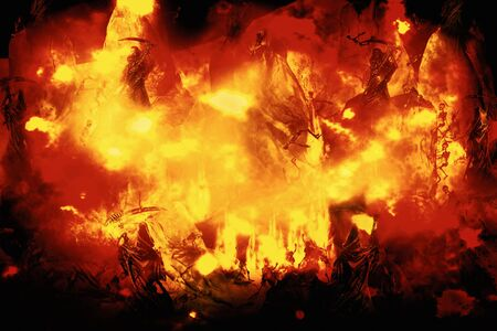 View of human skeleton in flame. The punished in hell. 3D illustration. 免版税图像 - 149881552