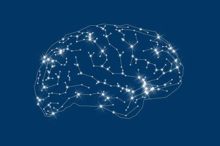 Human brain outline on blue