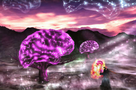 Wizard standing in front of glow brain on dry tree in the valley at twilight. Digital paint. Watercolor style.