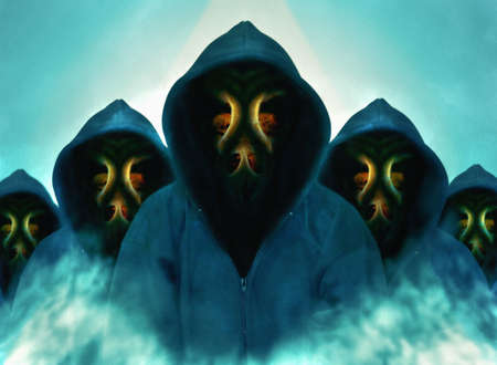 Hooded man with mask on blue background. Digital paint. Watercolor style.