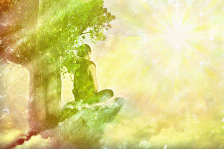View of man meditating on the cliff in the morning. Digital paint. Watercolor style. 免版税图像 - 155914264