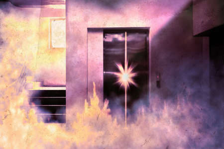 View of lift with fire and smoke in the building. Digital paint. Watercolor style.