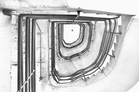 View of stairs in the building. Digital paint. Watercolor style. Black and white tone.