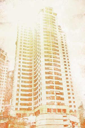 Exterior view of apartment building. Digital paint. Watercolor style. 免版税图像