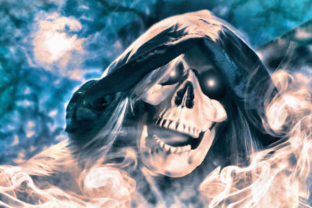 Hooded skeleton under moon light at night. Digital paint. Watercolor style. 免版税图像