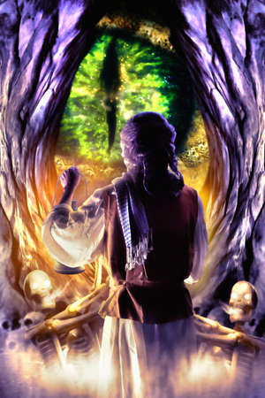 Wizards holding lamp and standing in front of dragon cave. Digital retouch. Watercolor style.