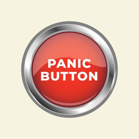 3d circle panic button red illustration vector design