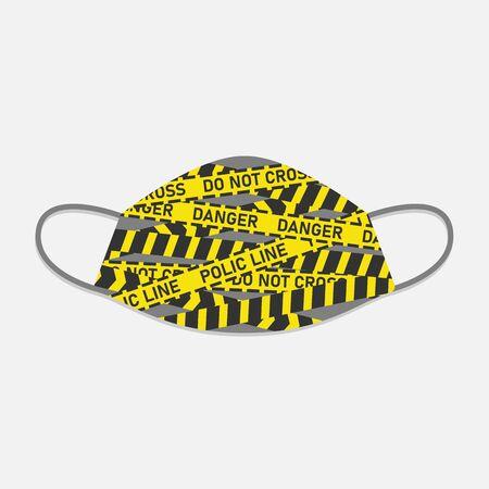 Illustration vector graphic Of police line, danger line In Face Mask Design Çizim