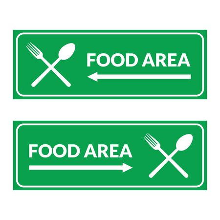 Rectangle food area symbol sign with green color. Perfect for visual direction to food area. Vector Illustration design.