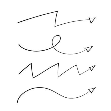 Doodle stylize arrow set vector illustration. Handrawn Style Иллюстрация