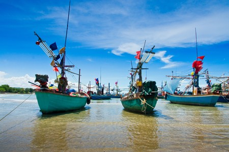 Fishing boats at cha-am beach in Thailand