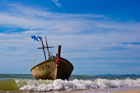 Fishing boat at cha-am beach in Thailand photo