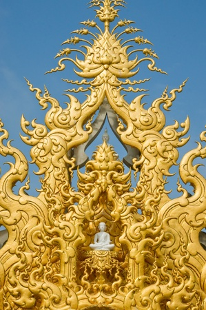 Wat Rong Khun temple art in Thailand Stock Photo