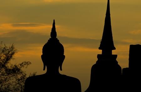 Silhouette of buddha staue Stock Photo - 9072956