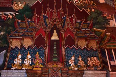 Traditional Thai art on a wall  at the Temple of dawn, Bangkok, Thailand  Stock Photo