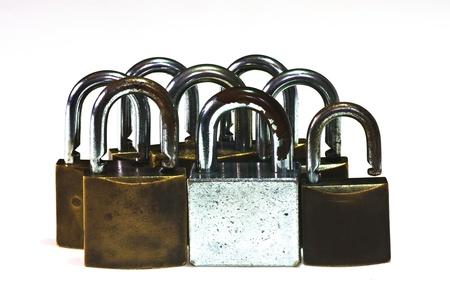 Old padlocks isolated on white background