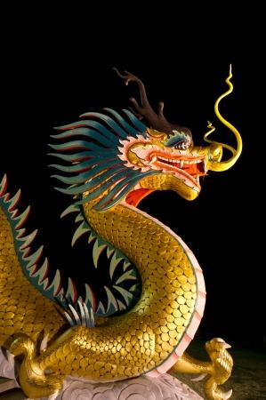 Golden dragon statue on black background