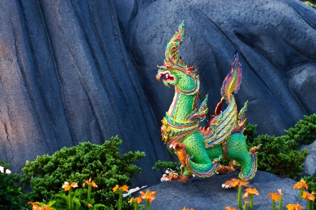 Thai style sculpture art, fairy tale animal  photo