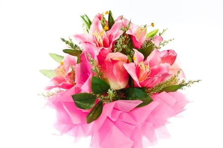 Artificial flowers made of cloth on white background