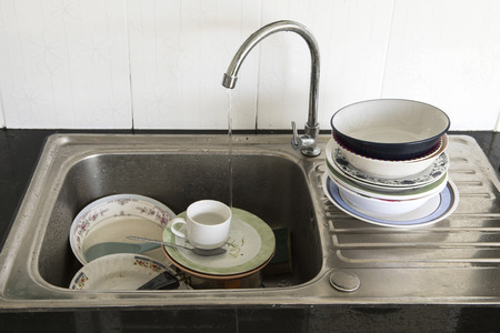 ware house: Dirty of dish and kitchenware waiting for wash