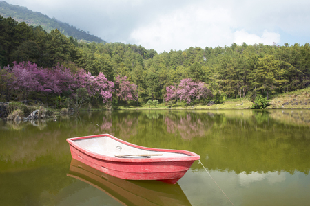 Boat on lake with a reflection in the water Stock Photo