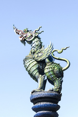 Traditional  dragon statues in Thailand.