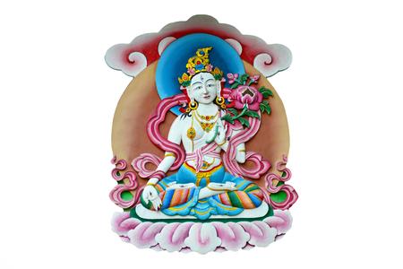 Statue at the buddhist monastery in Boudhanath, Kathmandu valley, Nepal 写真素材