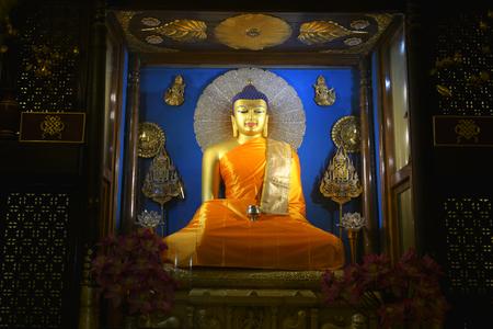 Beautiful Buddha statues in Mahabodhi Stupa Bodh Gaya Sculpture of Buddha Enlightenment under Bodhi Tree.