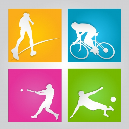paper cut sport element Vector
