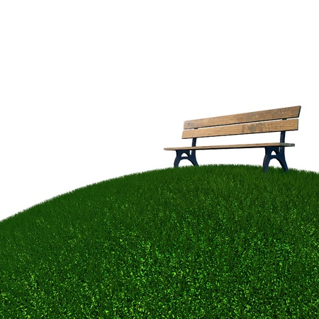 green grass and bench on white background photo