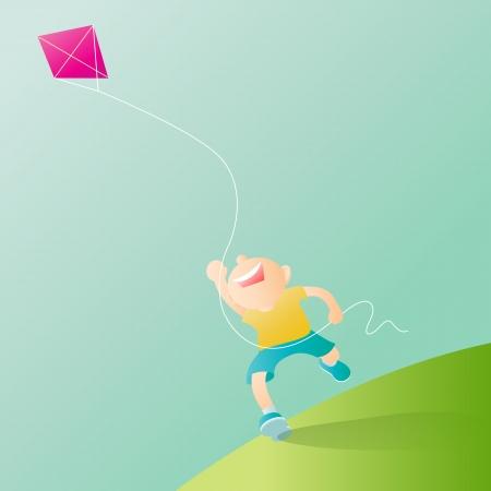 a boy play kite on blue sky Vector