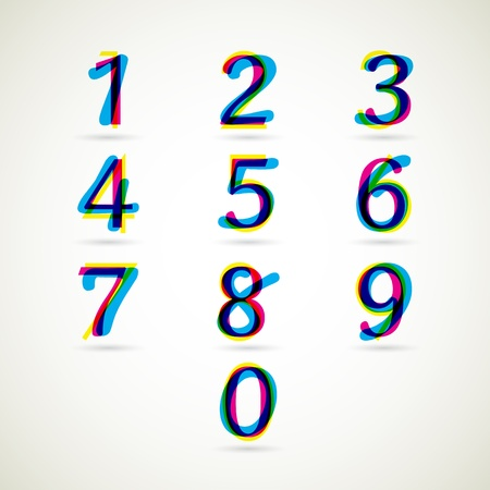 Number 4: numbers set of CMYK color style  vector