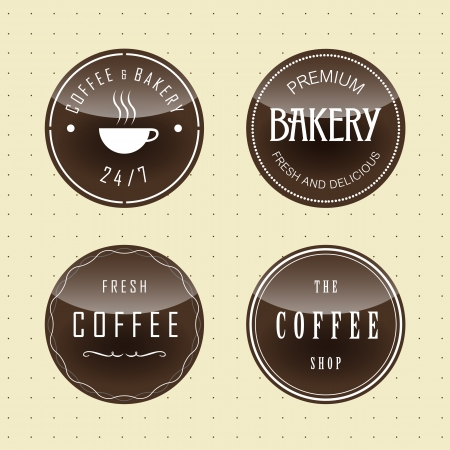Coffee and bakery badges set  Vector  Ilustração