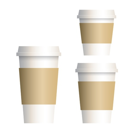 disposable: Takeaway coffee cup isolated on white Illustration
