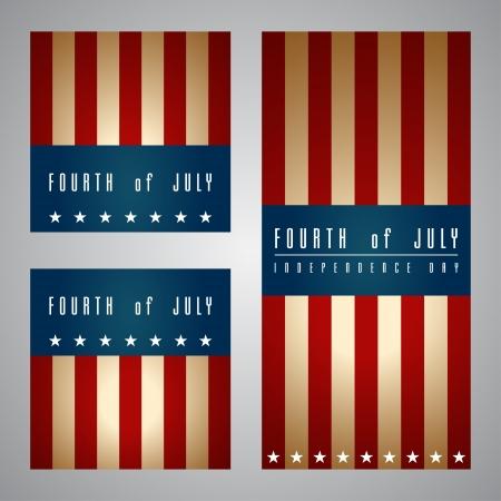 independencia: Conjunto de banderas feliz d�a de la independencia de Estados Unidos de Am�rica, 04 de julio