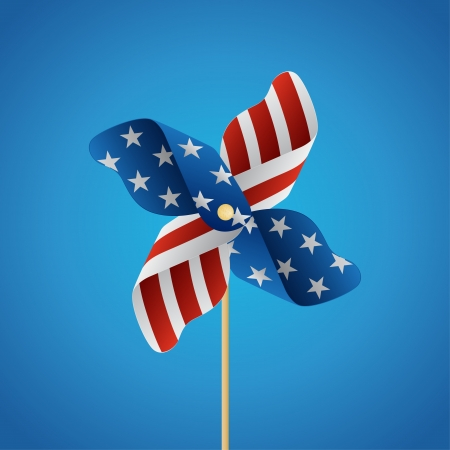 Happy independence day United States of America, 4th of July with Pinwheel   Vector