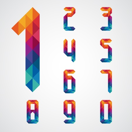 1: Numbers set modern style   Illustration