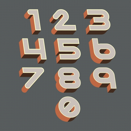 Numbers set retro style   Vector