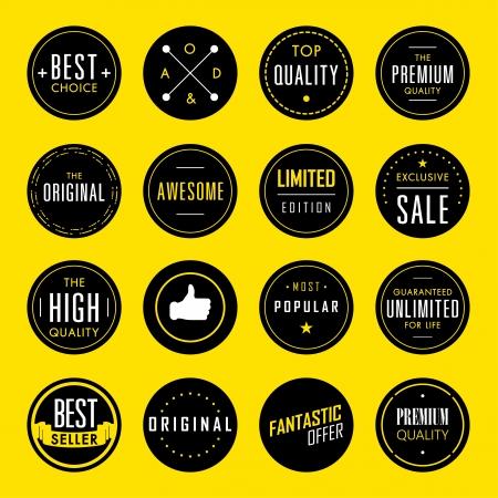 Set of Premium Quality and Guarantee Labels  Ilustração