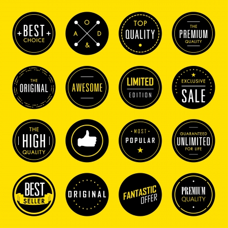 stickers: Set of Premium Quality and Guarantee Labels  Illustration
