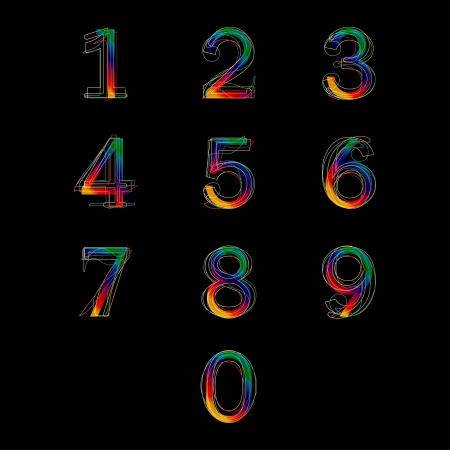 0 9: Numbers set, illustration  Illustration