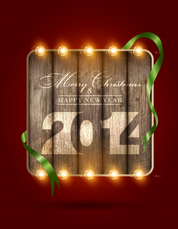 Merry Christmas and Happy new Year 2014, vector illustration