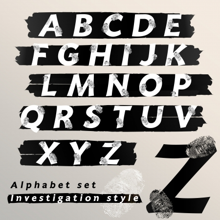investigate: Alphabet set investigation and evidence style, Vector illustration   Illustration