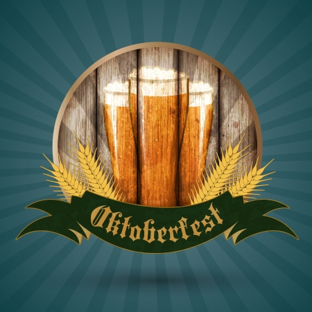 taverns: Oktoberfest vintage design, Vector illustration   Illustration