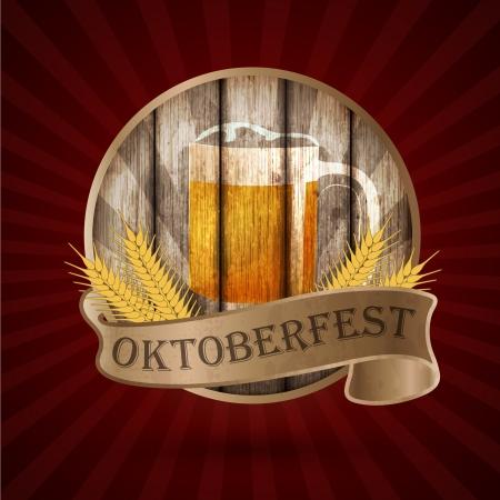 Oktoberfest vintage design, Vector illustration   Ilustração