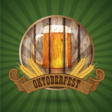 Oktoberfest vintage design, Vector illustratie